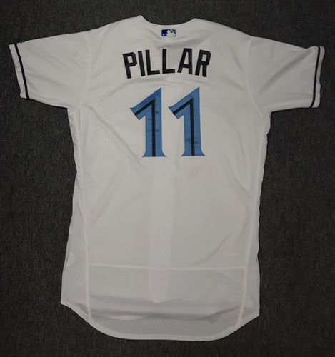Photo of Authenticated Game Used Father's Day Jersey - #11 Kevin Pillar (June 18, 2017). Pillar went 1-for-5 with 1 RBI
