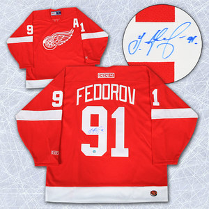 Sergei Fedorov Detroit Red Wings Autographed Retro CCM Jersey