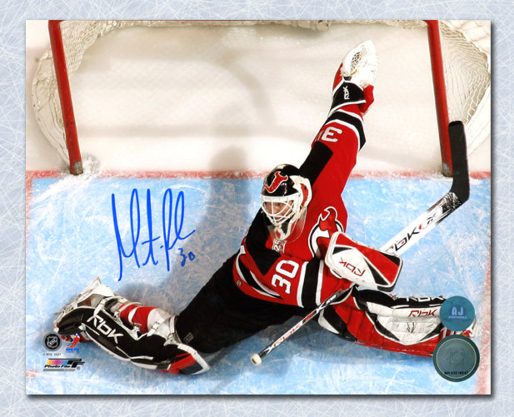 Martin Broduer New Jersey Devils Autographed Overhead Goal Crease 8x10 Photo