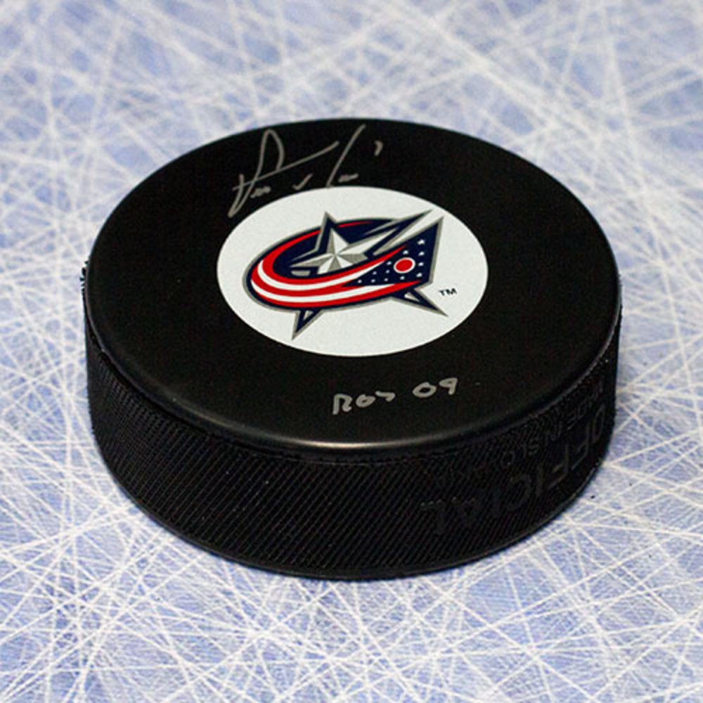 Steve Mason Columbus Blue Jackets Autographed Hockey Puck with ROY 09 Note