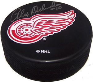 Alex Delvecchio Autographed Detroit Red Wings Puck