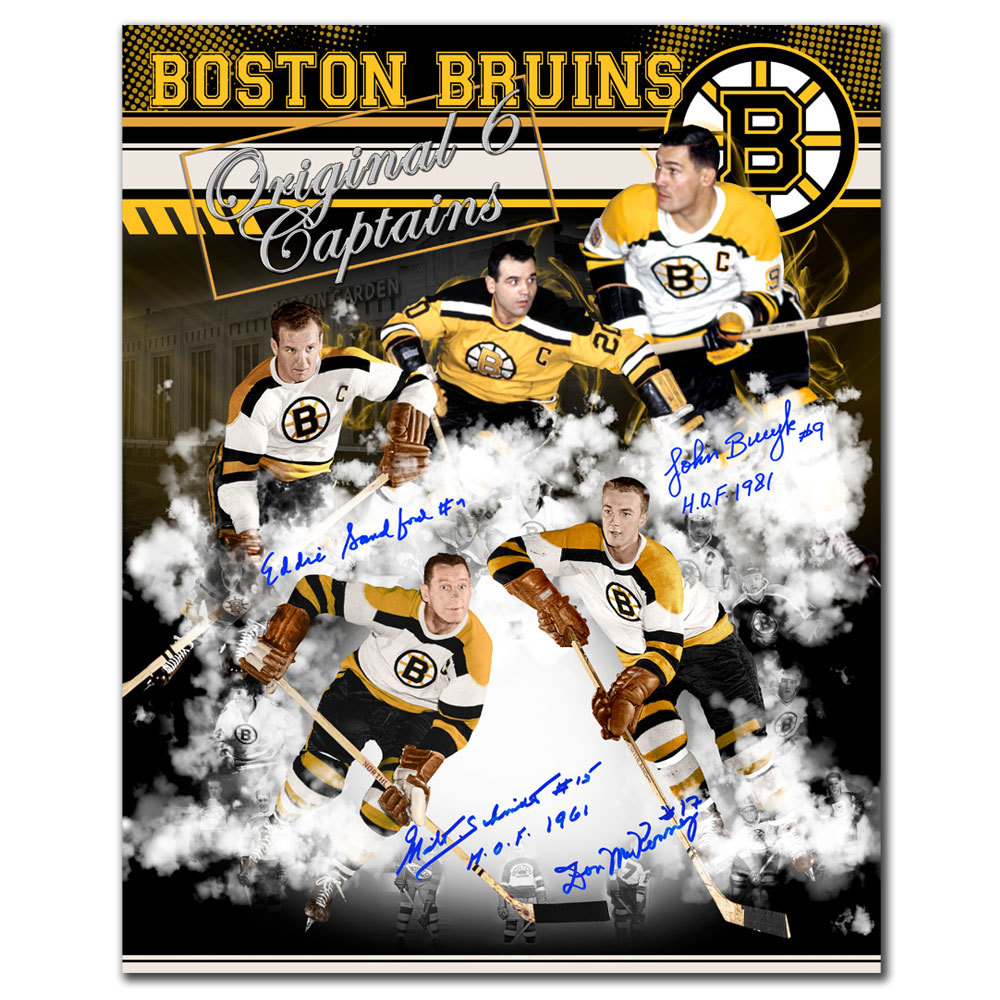 Boston Bruins Original Six Captains Autographed 16x20 Signed by 4