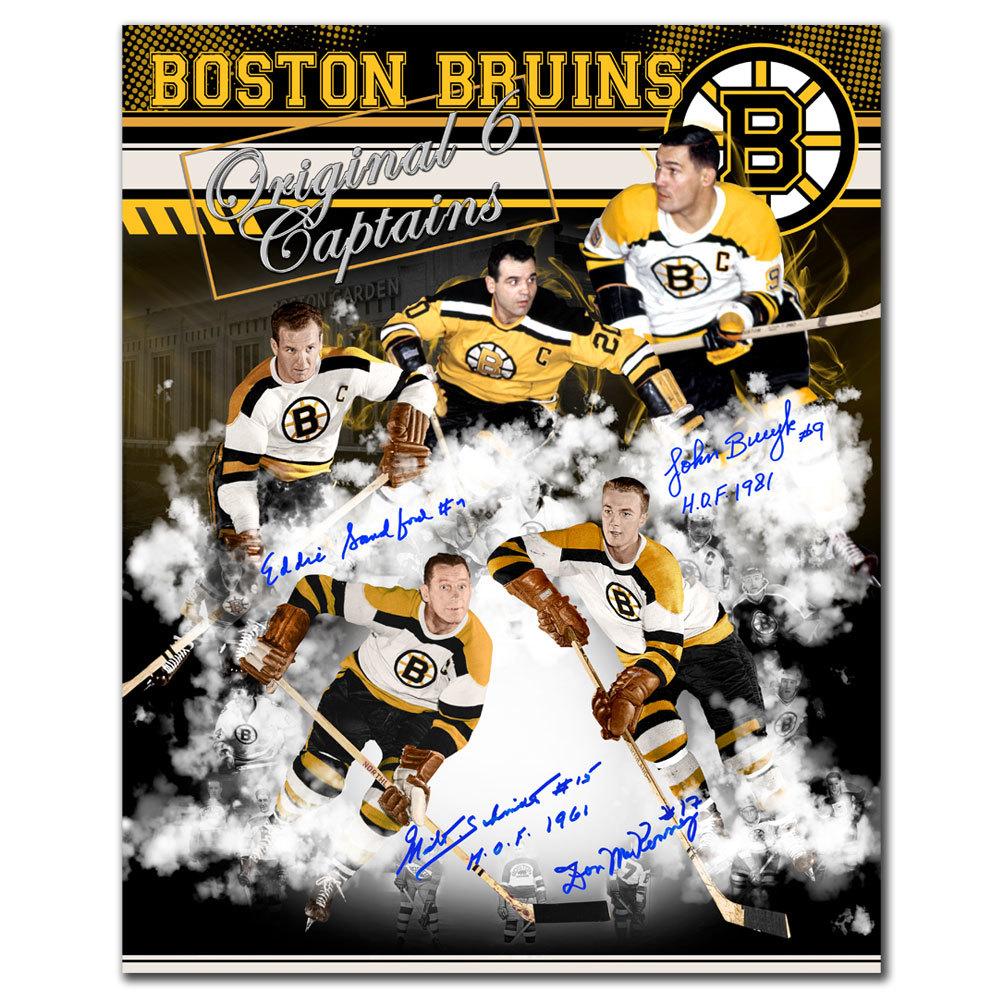 Boston Bruins Original Six Captains Autographed 16x20 Signed by 4
