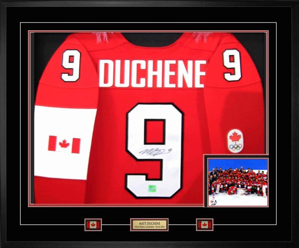 Matt Duchene - Signed & Framed Team Canada 2014 Olympic Nike Premier Red Jersey Featuring Team Celebration Photo - Celebrate Team Canada