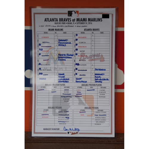 Photo of Marlins vs. Braves Lineup Card - 9/24/16