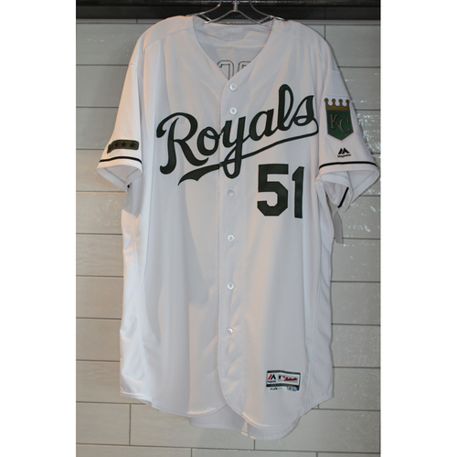 Photo of Jason Vargas Game-Used Memorial Day Jersey 5/29/17 (Size 50)