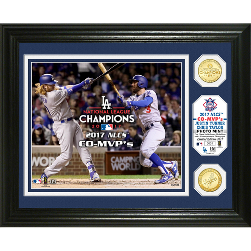 Photo of Los Angeles Dodgers Justin Turner & Chris Taylor 2017 NLCS CO-MVP's Bronze Coin Photo Mint