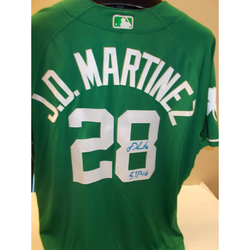 Photo of Autographed Game-Used JD Martinez St. Patrick's Day Jersey