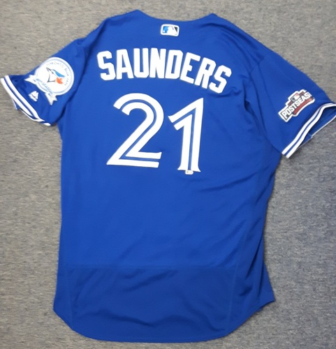 Photo of Authenticated Game Used Jersey - #21 Michael Saunders (2016 Postseason for Wild Card Game and ALDS Game 3)