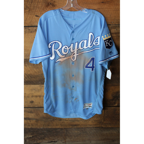 Photo of Game-Used Jersey: Alex Gordon 1305th Career Hit (Size 46 - SEA at KC - 8/6/17 - Game 1)