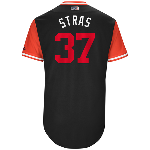"Photo of Stephen ""Stras"" Strasburg Washington Nationals Game-Used Players Weekend Jersey"