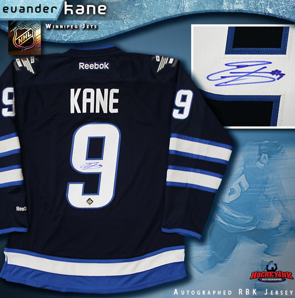 EVANDER KANE Signed Navy Reebok Winnipeg Jets Jersey