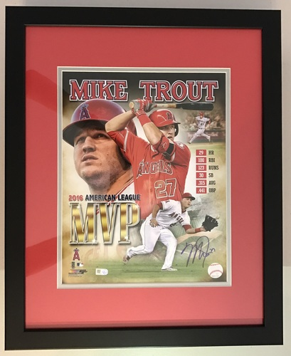Photo of Mike Trout Autographed 2016 AL MVP Limited Edition Framed 11x14 Photo