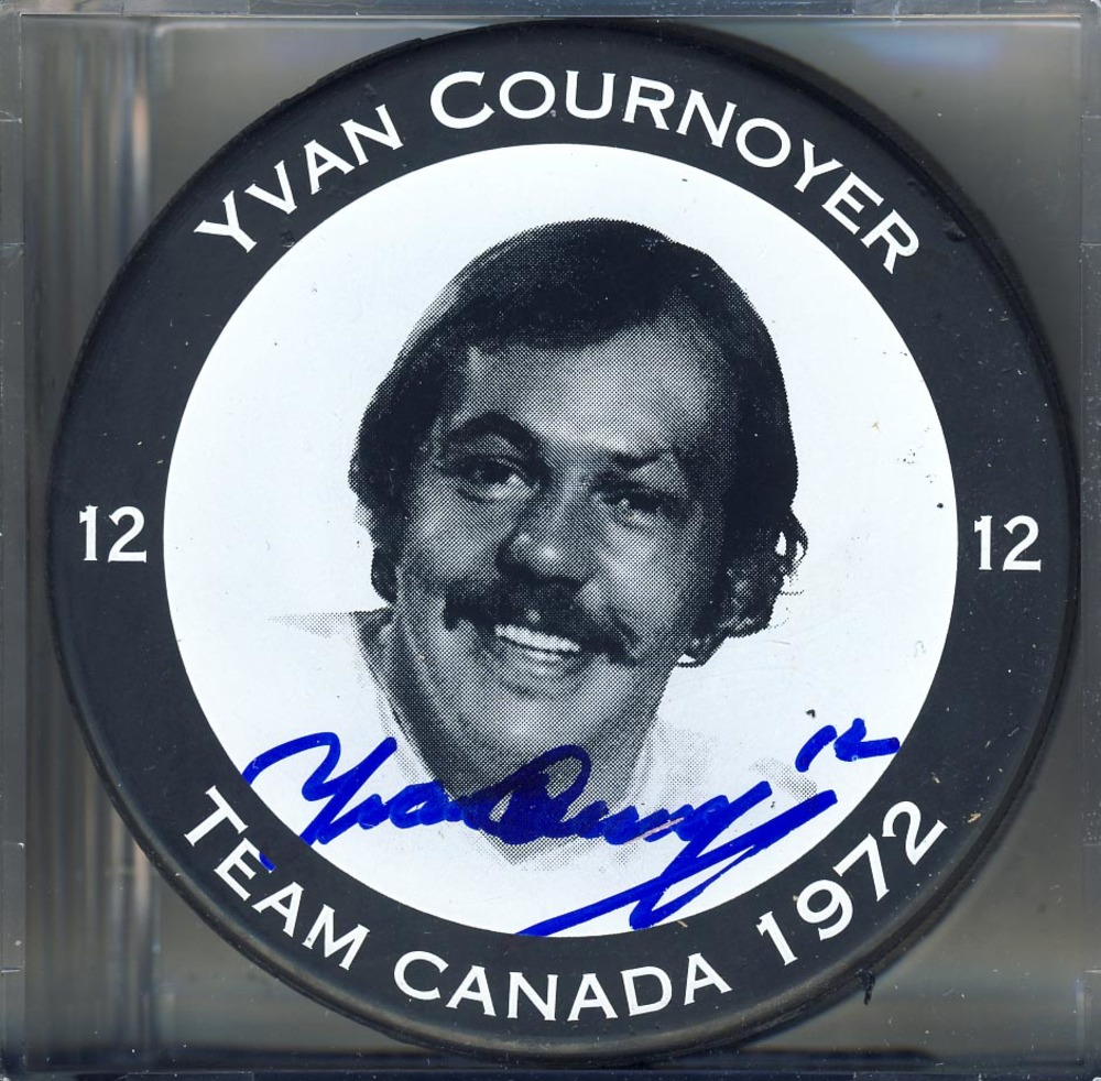 Yvan Cournoyer Team Canada Autographed 1972 Summit Series Player Puck