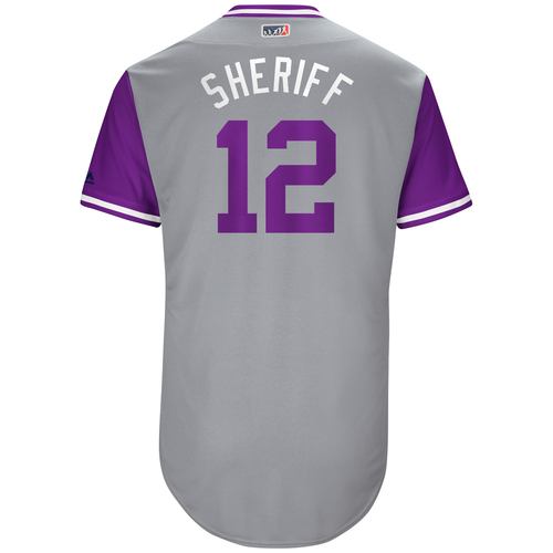 "Photo of Mark ""Sheriff"" Reynolds Colorado Rockies Game-Used Players Weekend Jersey"