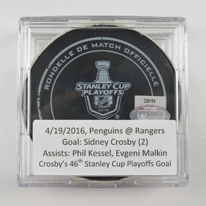Sidney Crosby - Pittsburgh Penguins - Goal Puck - April 19, 2016 (Rangers Logo) - Stanley Cup Playoffs