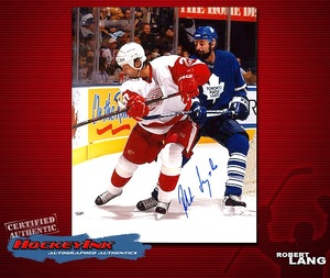ROBERT LANG Signed Detroit Red Wings 8 X 10 Photo - 70186