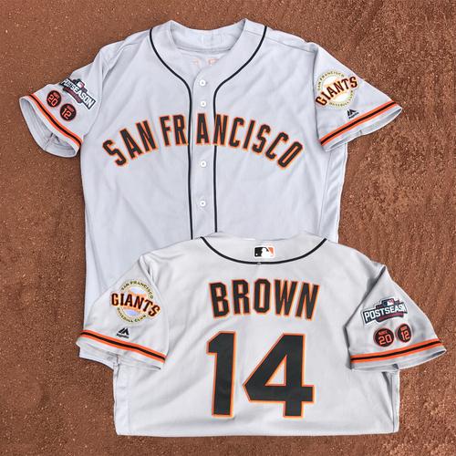 Photo of San Francisco Giants - Game-Used - 2016 Postseason Road Jersey - Trevor Brown #14