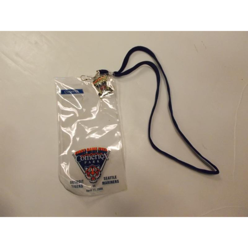 Photo of Ticket Holder Lanyard and Lapel Pin: First Game at Comerica Park
