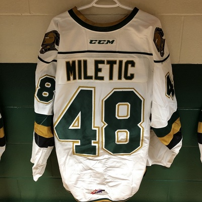 Sam Miletic 2016-2017 White Game Jersey