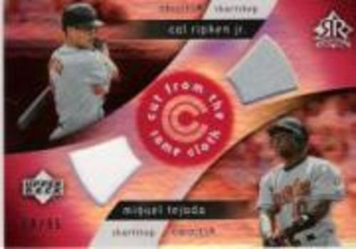 Photo of 2005 Reflections Cut From the Same Cloth Dual Jersey Red #RT Cal Ripken/Miguel Tejada