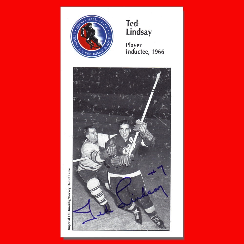 Ted Lindsay Autographed Detroit Red Wings H.O.F. Card