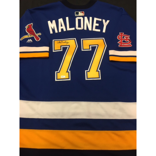Photo of Cardinals Care Auction: Chris Maloney Autographed Team-Issued St. Louis Blues Themed Cardinals Jersey
