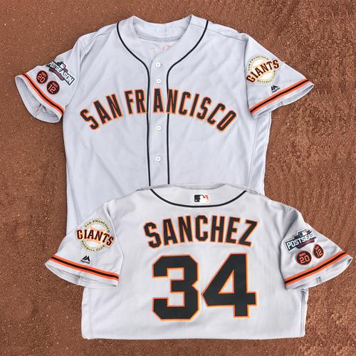 Photo of San Francisco Giants - Game-Used - 2016 Postseason Road Jersey - Tony Sanchez #34 - (size 48)