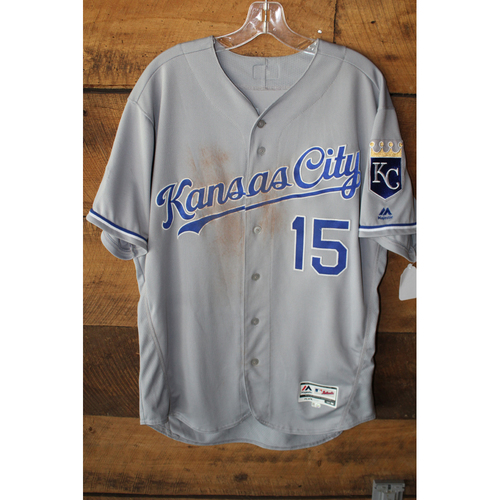Photo of Game-Used Jersey: Whit Merrifield 13th Career Home Run, 71st Career RBI, 179th Career Hit, & 180th Career Hit (Size 46 - KC at DET - 7/25/17)