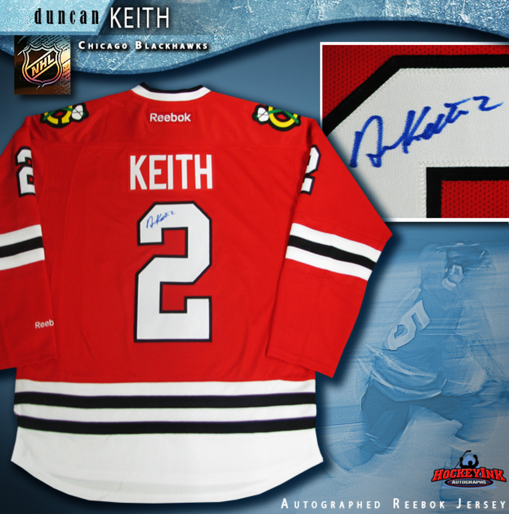 DUNCAN KEITH Signed Chicago Blackhawks Reebok Red Jersey