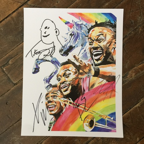 Photo of The New Day & Titus O'Neil SIGNED 11 x 14 Rob Schamberger Print