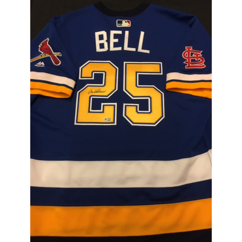Photo of Cardinals Care Auction: David Bell Autographed Team-Issued St. Louis Blues Themed Cardinals Jersey
