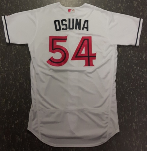 Photo of Authenticated Game Used Mother's Day Jersey (May 14, 2017) - #54 Roberto Osuna