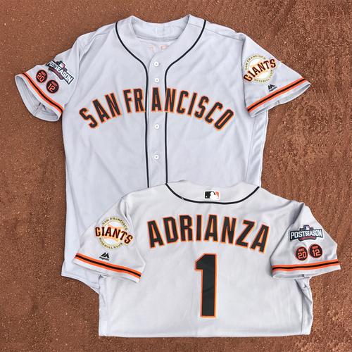 Photo of San Francisco Giants - Game-Used - 2016 Postseason Road Jersey - Ehire Adrianza #1 - (size 46)