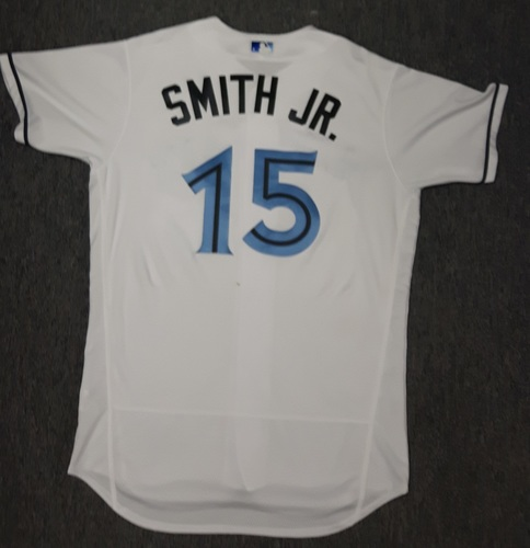 Photo of Authenticated Game Used Father's Day Jersey - #15 Dwight Smith, Jr. (June 18, 2017). Smith Jr. also wore on June 17th when he got his first career MLB RBI