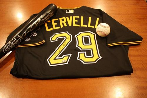 Photo of Pirates Holiday Bundle:  Francisco Cervelli Autographed Black Alternate Jersey, Autographed Baseball and Autographed Bat
