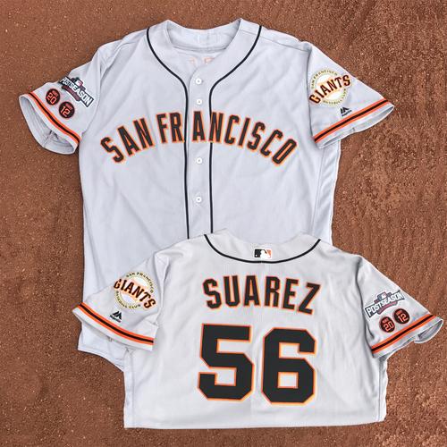 Photo of San Francisco Giants - Game-Used - 2016 Postseason Road Jersey - Albert Suarez #56 - (size 48)