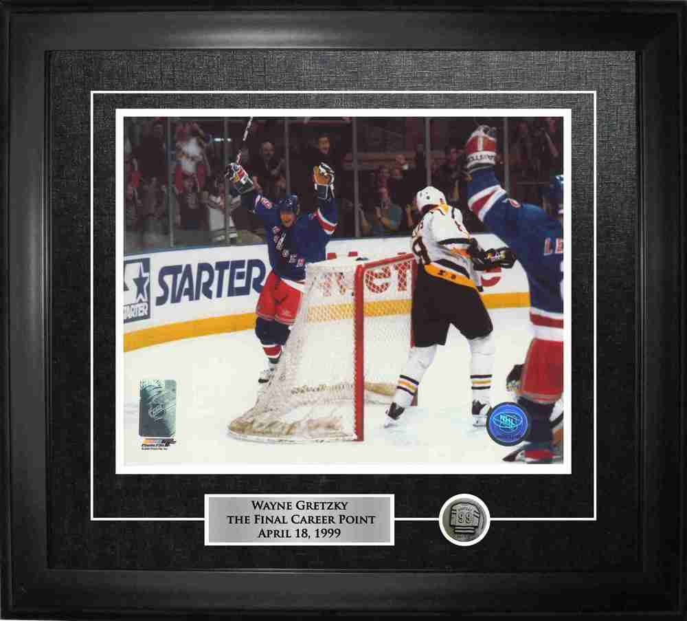 Wayne Gretzky - Framed 8x10 Etched Mat -  Rangers Final Point Celebration