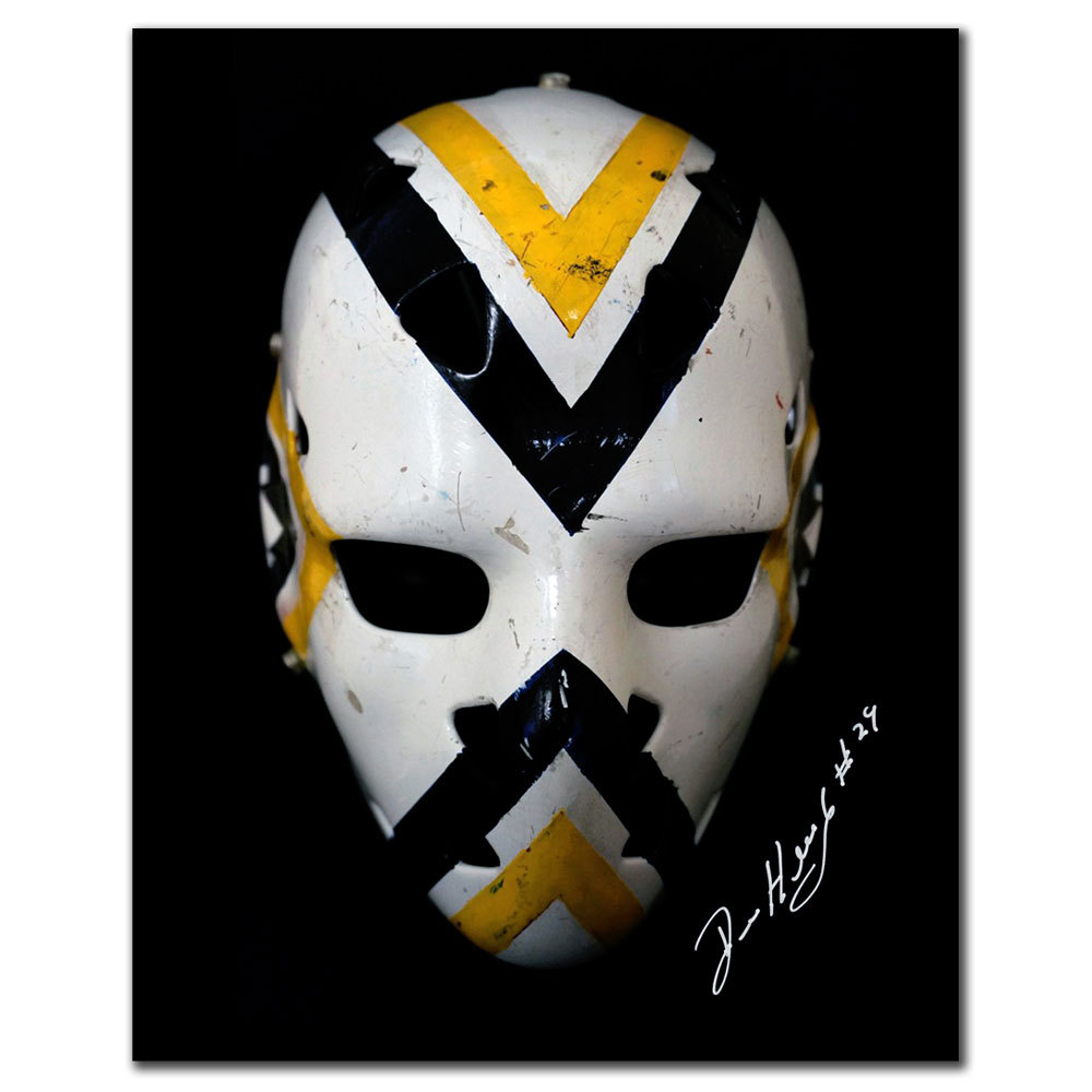 Denis Herron Pittsburgh Penguins Mask Autographed 8x10
