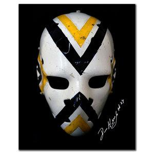 Denis Herron Pittsburgh Penguins Mask Autographed 8x10