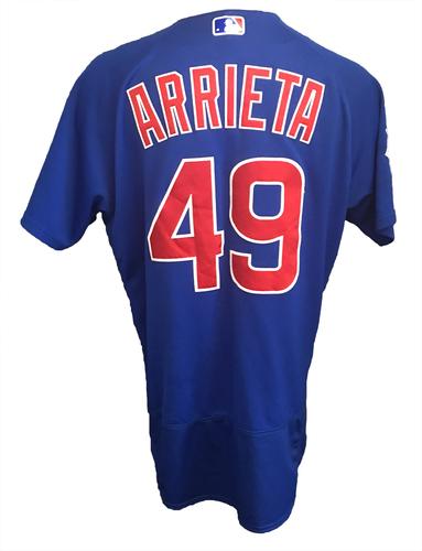 Photo of Jake Arrieta Game-Used Jersey -- Arrieta 12th Win (6 IP, 1 ER, 6 K) -- Cubs at Diamondbacks -- 8/13/17