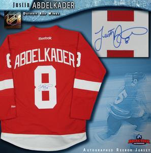 JUSTIN ABDELKADER Signed Detroit Red Wings Red Reebok Jersey