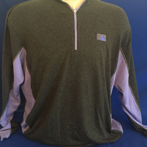 Photo of UMPS CARE AUCTION: MLB/UMPS CARE Logo Antigua Onyx Quarter-Zip Pullover, Dark Gray with Purple, Size 2XL
