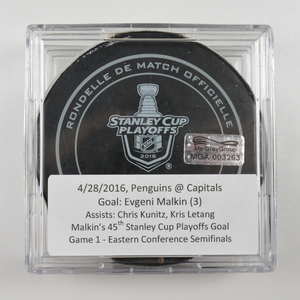 Evgeni Malkin - Pittsburgh Penguins - Goal Puck - April 28, 2016 (Capitals Logo) - Stanley Cup Playoffs