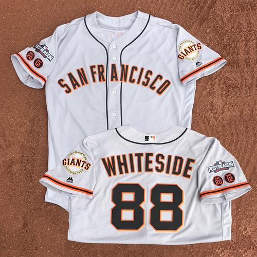 Photo of San Francisco Giants - Game-Used - 2016 Postseason Road Jersey - Eli Whiteside #88 - (size 48)