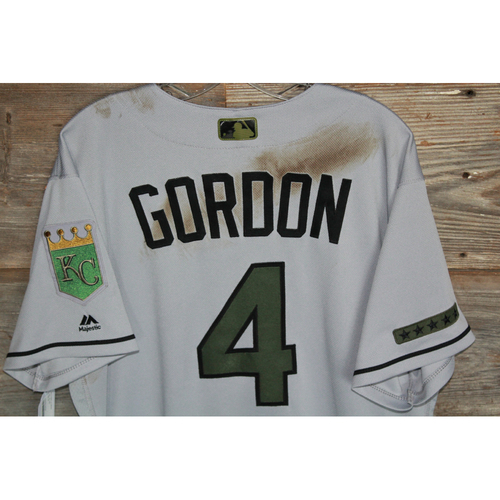 Photo of Game-Used Alex Gordon Memorial Day Jersey (Size 46) (Used on 5/28/17 CLE @ KC)