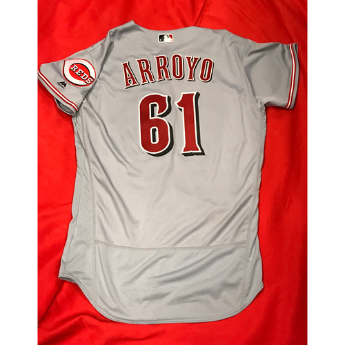 Photo of Bronson Arroyo -- Game-Used Jersey -- First Start of 2017 -- Arroyo's Final Major League Season -- Reds @ Cardinals on April 8, 2017