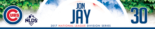 Photo of Jon Jay Game-Used Locker Nameplate -- NLDS Game 3 -- Nationals vs. Cubs -- 10/9/17