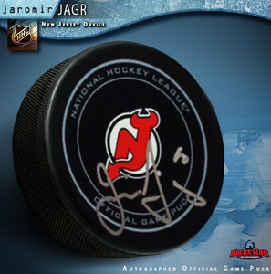 JAROMIR JAGR Signed New Jersey Devils Official Game Puck