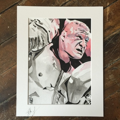 Photo of Brock Lesnar SIGNED Rob Schamberger Painting
